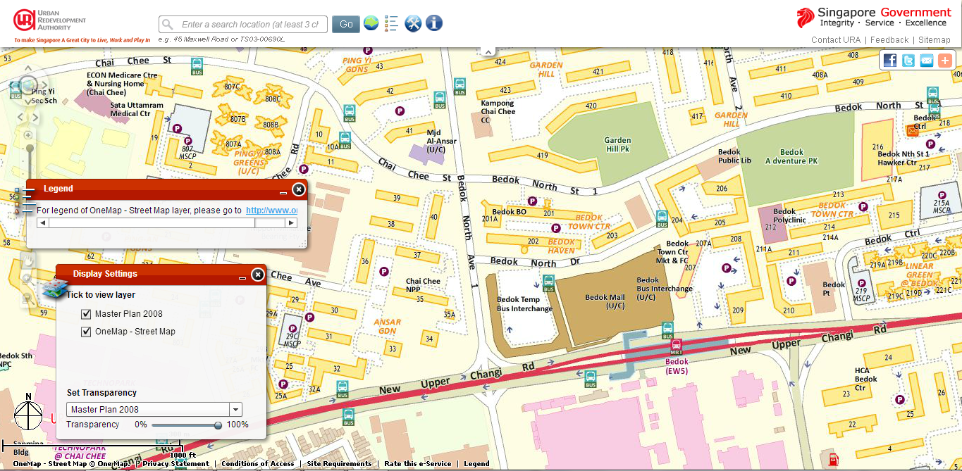 Current location of Bedok Temporary Interchange