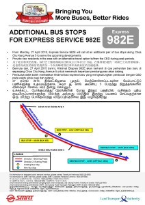Additional Stops for Service 982E from April 2015