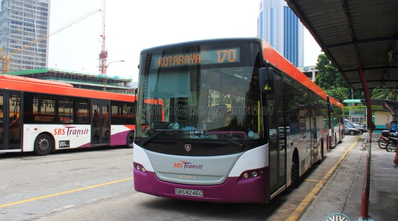 The terminal in October 2014, served by SBS Transit Scania K230UBs.