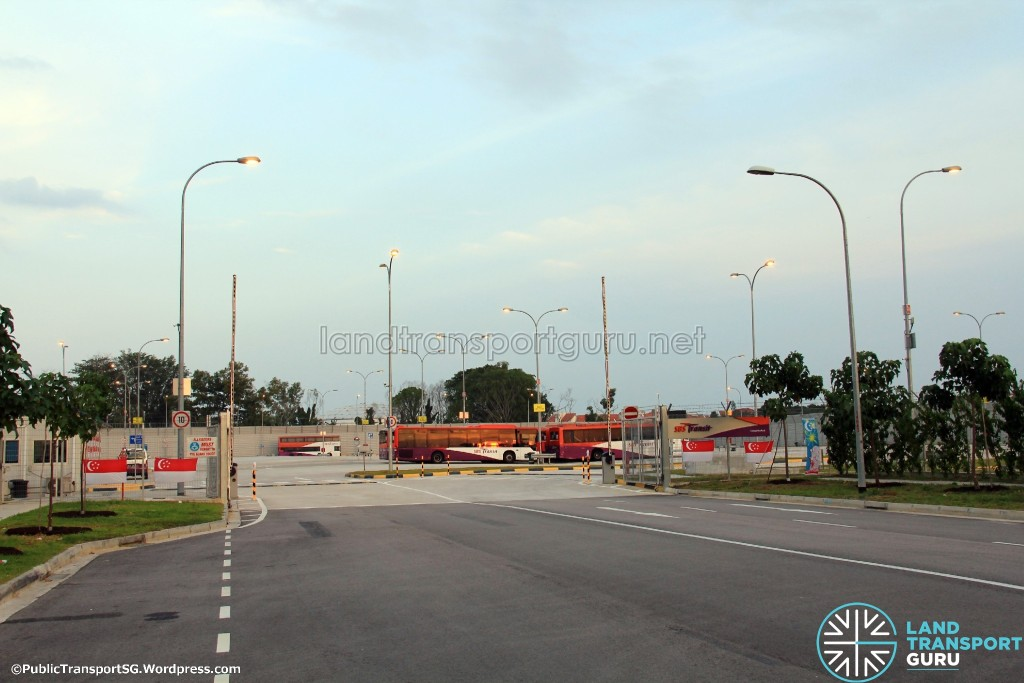 Changi Bus Park entrance, with access road linking to Upper Changi Road East