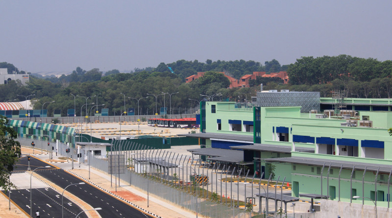 Loyang Bus Depot in September 2015, noise barriers yet to be installed