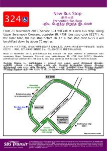 Additional Bus Stop for Service 324 along Upp S'goon Cres from 21 Nov 2015