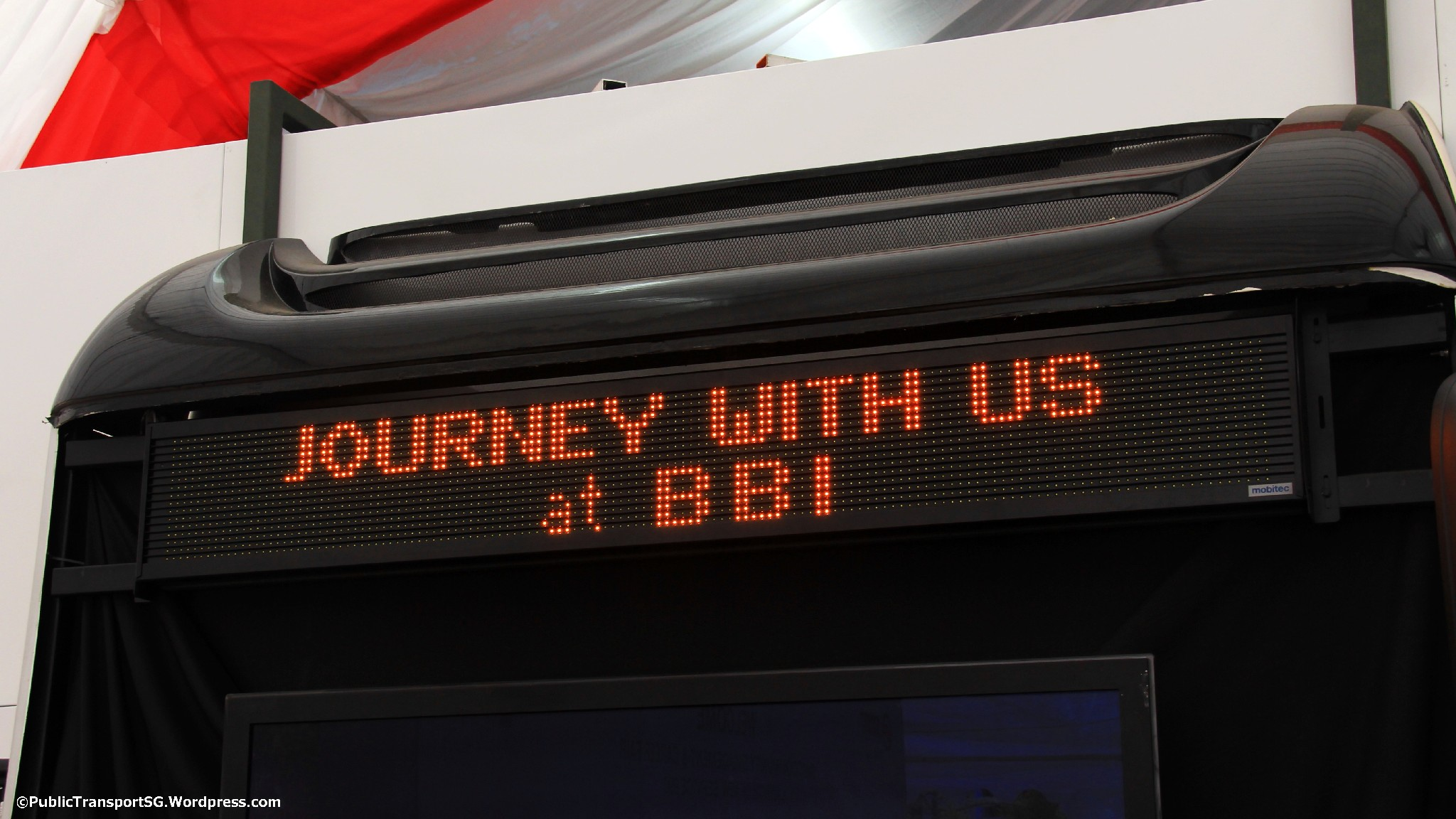 Welcome message programmed on a Mobitec Electronic Display Signage (EDS)