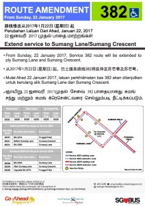 Route Extension poster for Service 382G/W