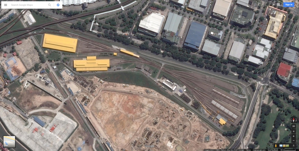 Satellite view of Changi Depot in 2017. The upcoming East Coast Integrated Depot can be seen under construction south of the depot.