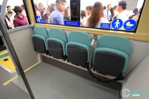 MAN Lion's City DD L Concept Bus Mock-up - Foldable seats which can be locked in the stowed position by the driver