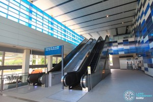 Sixth Avenue MRT Station - Exit A - Escalators to overhead bridge