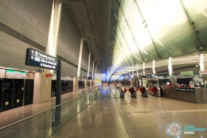 Changi Airport MRT Station - Ticket concourse at Platform level