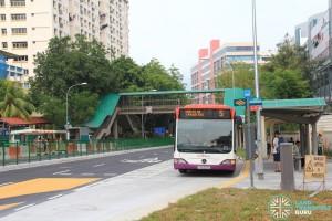 A Service 5 Mercedes-Benz O530 Citaro calling at a reopened bus stop along Kaki Bukit Avenue 1