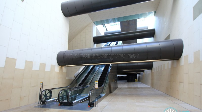 Bras Basah MRT Station - Transfer hall escalators (B4)
