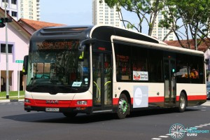 Tower Transit MAN A22 (SMB3062L) in SMRT base livery (old) and TTS corporate logo