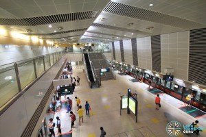 Bishan MRT Station - Overhead view of platform from concourse level