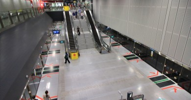 Haw Par Villa MRT Station - Overhead view of platform from concourse level
