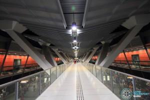 Pedestrian linkbridge above middle platform