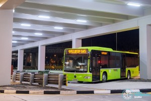 The first TTS bus to arrive at Bukit Batok awaits its inaugural trip on Service 945