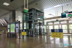 Jurong East MRT Station - Transfer Concourse - Platform A/B barriers. Platforms A/B open only during the peak hours