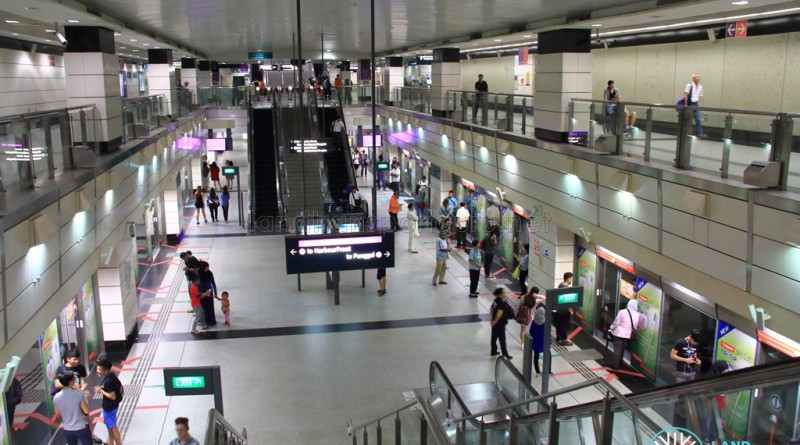 Outram Park MRT Station - View of NEL Platform from Concourse