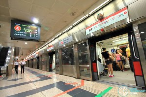 NSL Platform A. All train services head north to Raffles Place and Jurong East
