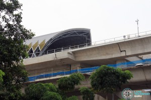 Tuas Crescent MRT Station - Construction progress (June 2016). The station and tracks are built above the elevated road viaduct