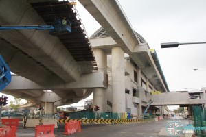 Tuas West Road MRT Station - Construction progress (March 2016). The road viaduct goes underneath the rail viaduct just east of Tuas West Road station (Mar 2016)
