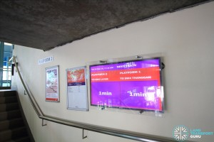 Fernvale LRT Station - Next train timings screen at staircase