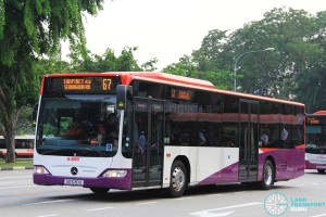SG1030U on 67 - SMRT Buses Mercedes-Benz Citaro in full SBS Transit base livery
