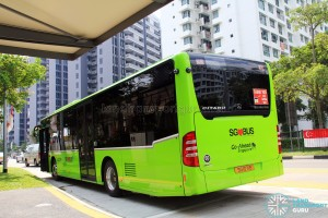 Rear view of Go-Ahead Mercedes-Benz Citaro (SG1071B) in Lush Green