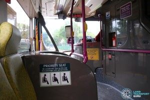 SMRT Buses Volvo B9TL Interior - Priority Seat Stickers