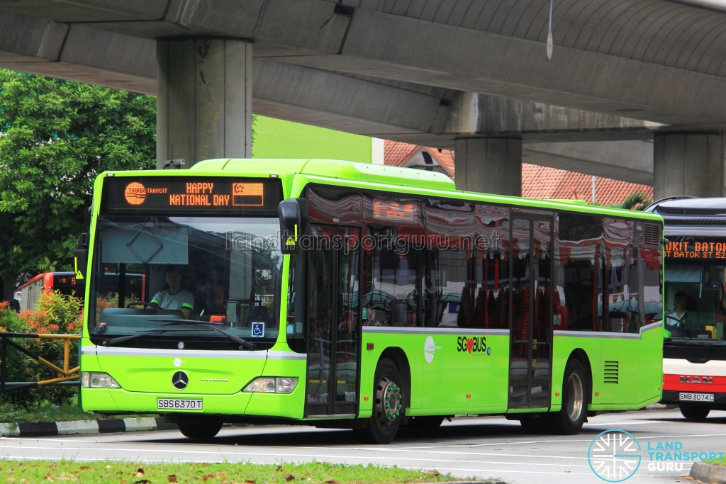 Tower Transit Citaro (SBS6370T) displaying the National Day scroll