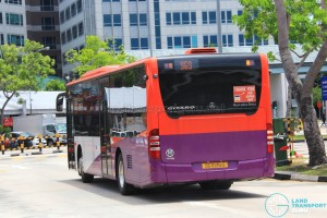 Rear of SG1037B on 969 - SMRT Buses Mercedes-Benz Citaro in full SBS Transit base livery and no SMRT logo