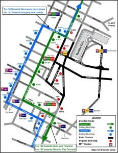Formula 1 Diversions - Service 100, 107 diversion map