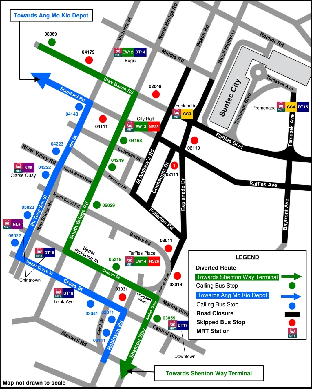 City Direct Services will follow an identical diversion route as Service 128. Diagram published by SBS Transit.