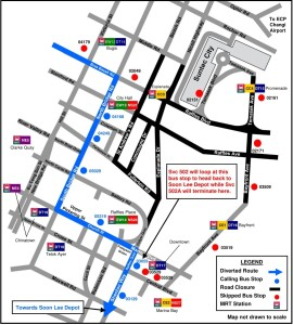 Formula 1 Diversions - Service 502 diversion map