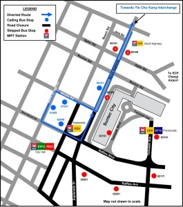 Formula 1 Diversions - Service 70M diversion map