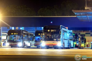 Tower Transit buses at Loyang Depot, operating Employee Bus Routes for Go-Ahead