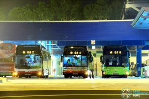 Go-Ahead Employee Buses at Loyang Bus Depot, operated by Tower Transit