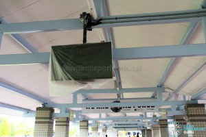 New bus departure timing screens being installed at Pasir Ris Bus Interchange
