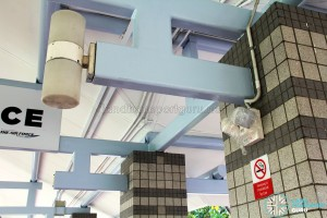 New interior lamps being installed at Pasir Ris Bus Interchange
