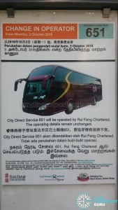 Change of Operator poster for City Direct 651