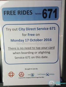 Free Rides for City Direct 671 on 17 Oct 2016