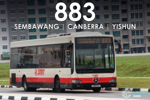Cover Image - SMRT Bus Service 883 with Upcoming Build-to-Order flats in the background