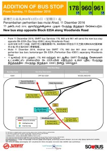 New Bus Stop along Woodlands Road from 11 Dec 2016