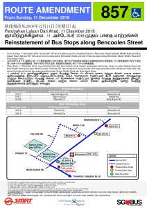 Service 857 poster for the Reinstatement of bus stops along Bencoolen Street