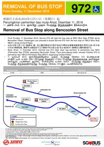 [Dec 2016] Service 972 poster for the removal of bus stop due to Reinstatement of bus stops along Bencoolen Street