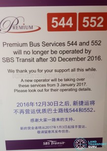 Operator change poster for Premium 544 & 552