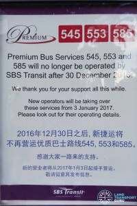 Transfer of Premiums 545, 553 & 585 to Private Bus Operators