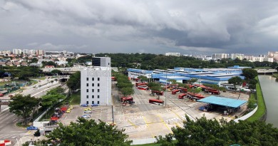 Overhead view of Braddell Bus Park