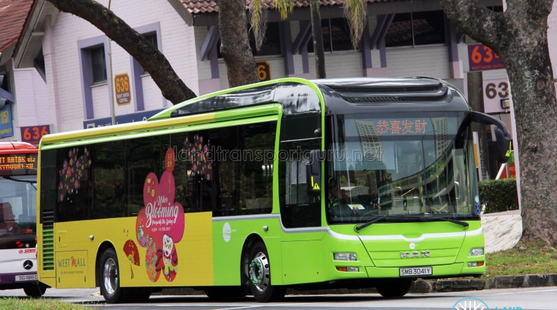 Tower Transit MAN NL323F (SMB3041Y) displaying Chinese New Year message (恭喜发财)