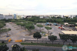 Bedok North Depot - Overhead view of bus park