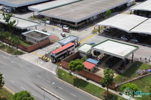 Aerial view of Bukit Batok Bus Depot entrance, with security post, offices, car and motorcycle parking